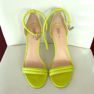 Trendsetter neon yellow open toe pumps!
